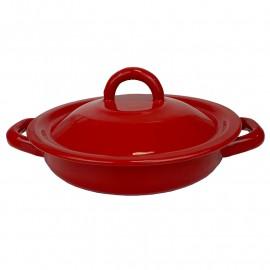 Tortilla värmare i tenn. Röd 18cm